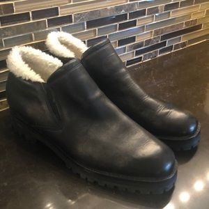NWOT Cole Haan faux fur lined black leather shoes